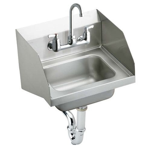 Elkay CHS1716LRSC Wall Mount 18 Gauge Stainless Steel Handwash Sink with Commercial Faucet and Drain Fittings