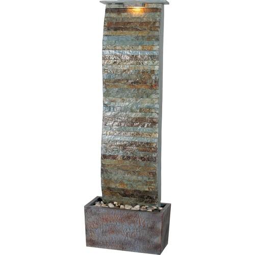 Kenroy Home Tactile Curvature Slate Floor Fountain, Natural Slate Finish