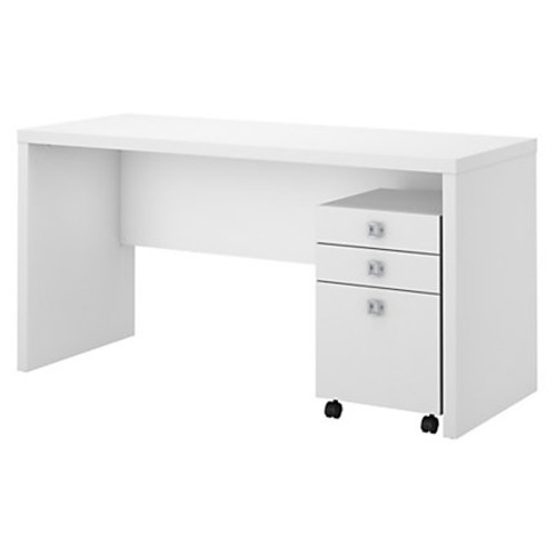 kathy ireland Office by Bush Business Furniture Echo Credenza Desk With Mobile File Cabinet, Pure White/Pure White, Standard Delivery