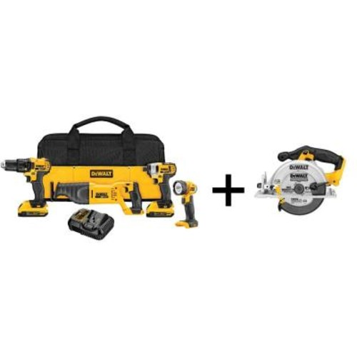 DEWALT 20-Volt MAX Lithium-Ion Cordless Combo Kit (4-Tool) with (2) Batteries 2Ah, Charger and Bonus 6-1/2 in. Circular Saw