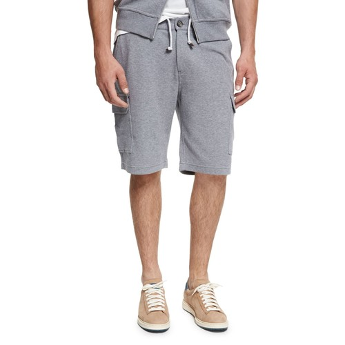 BRUNELLO CUCINELLI Spa Cargo Sweat Shorts, Medium Gray