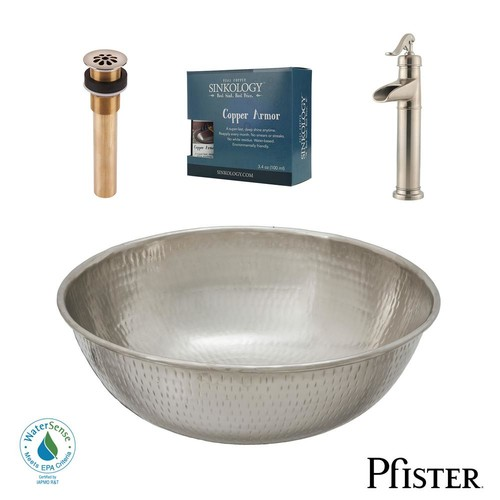 SINKOLOGY Pfister All-In-One Bohr Design Kit Nickel Vessel Sink with Brushed Nickel Single Hole Vessel Faucet