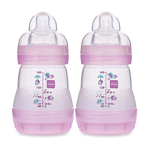 MAM 2-Pack 5 oz. Anti-Colic Bottle in Pink