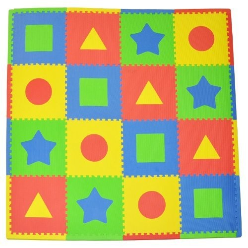 Tadpoles 16 Sq Ft First Shapes Playmat Set, Primary [Primary]