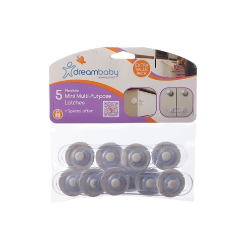 Dreambaby 5 Pack Mini-Multi Purpose Latch, White