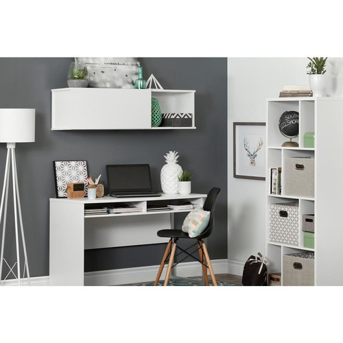 South Shore Pure White Interface Desk with 2-Drawers and Wall Mounted