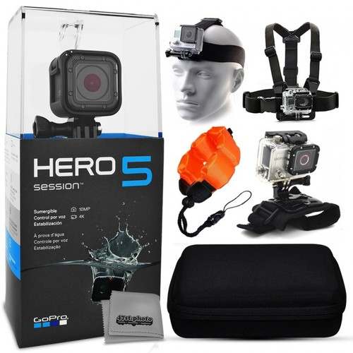 GoPro HERO5 Session + Case Head Strap Chest Mount Wrist Glove & More
