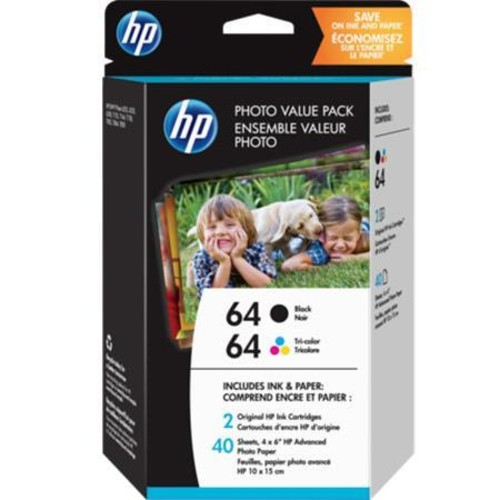 HP 64 Black/Tri-color Photo Value Pack-40 sheet/4 x 6 in