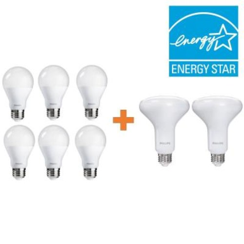 Philips 60W Equivalent Soft White A19 Dimmable LED (6) and 65W Equivalent Soft White BR30 Dimmable LED (2) Value Pack