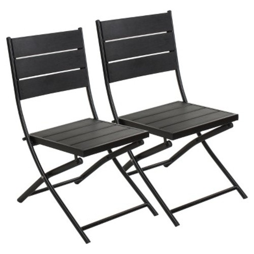 Faux Wood Patio Folding Chair - Set of 2 Captiva Design
