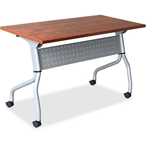 Lorell Cherry Flip Top Training Table - Rectangle Top - Four Leg Base - 4 Legs - 23.60