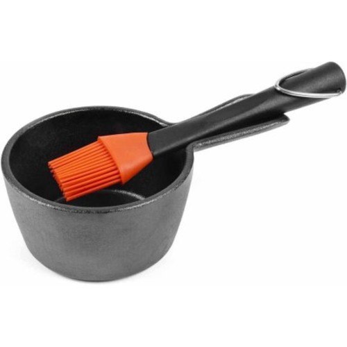 Charcoal Companion Cast Iron Sauce Pan with Silicone Head Basting Brush, CC5099