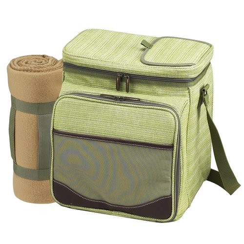 Picnic at Ascot Hamptons Picnic Cooler for Two with Blanket [Olive Tweed]