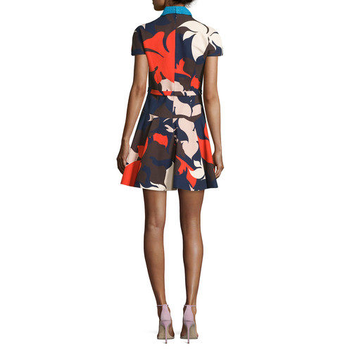 DELPOZO Short-Sleeve Floral-Print Dress W/Detachable Collar