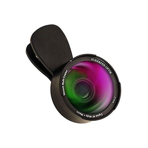 Phone Camera Lens by Schrfen Optik - Pro 4K 2-in-1 Kit with 21mm Wide Angle Plus Macro - for iPhone, Samsung, iPad Tablet, Laptop Webcam, Most Smartphones (for main HD and front selfie cameras)