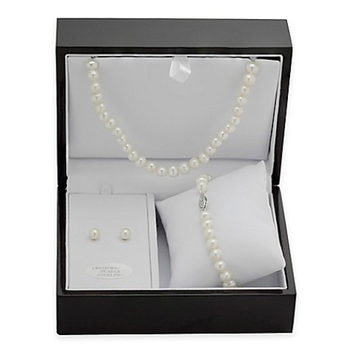 Sterling Silver Freshwater Cultured Pearl 3-Piece Necklace, Bracelet and Earring Set w/Jewelry Box