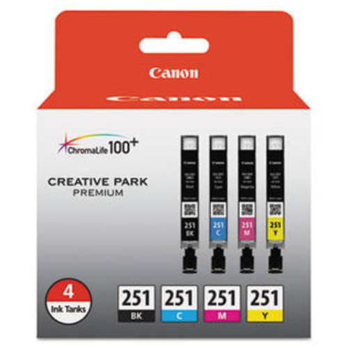 Canon CLI-251 Black, Cyan, Magenta, Yellow (4/Pack) Ink Cartridge, Canon 6513B004