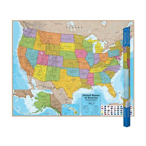 Round World Products Hemispheres Laminated United States Maps, 38