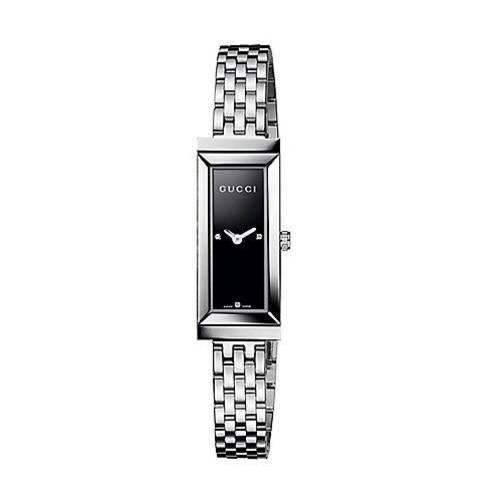 G-Frame Diamond & Stainless Steel Rectangle Watch/Black