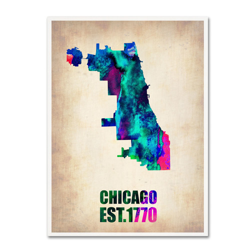 Trademark Global Naxart 'Chicago Watercolor Map' Canvas Art [Overall Dimensions : 18x24]