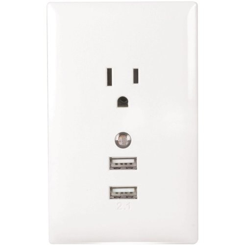 RCA Wall Plate USB Charger with Night Light