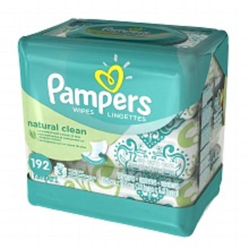 Pampers Natural Clean Baby Wipes Travel Packs Unscented, 3