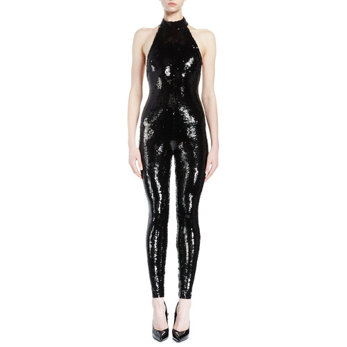 SAINT LAURENT Halter-Neck Sequined Catsuit, Black
