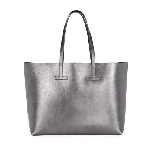 TOM FORD Medium T Saffiano Tote Bag, Gray Metallic