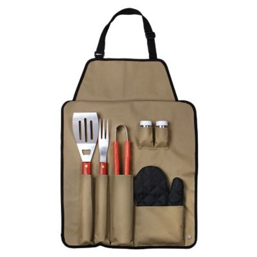 Chefs Outdoor 7 Piece BBQ Apron and Utensil Set, Black or Beige
