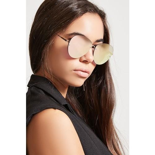 Rimless Mirrored Aviator Sunglasses
