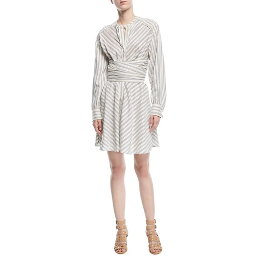 ISABEL MARANT Victoria Striped Cummerbund Shirtdress