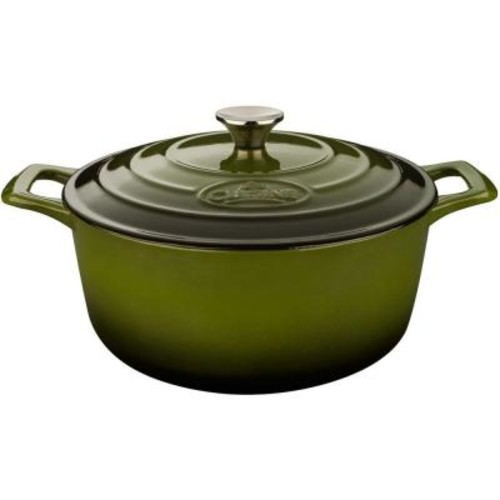 La Cuisine Pro 3.7 Qt. Cast Iron Round Casserole with Green Enamel