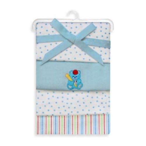 Spasilk & Bear Flannel Receiving Blanket (4-Pack)
