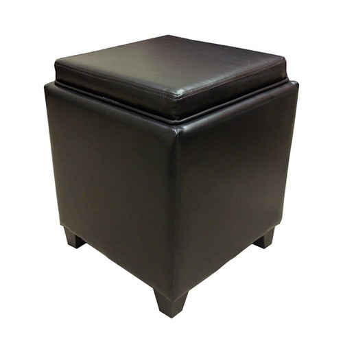 Armen Living - Armen Living Contemporary Storage Ottoman with Tray in Brown - Black