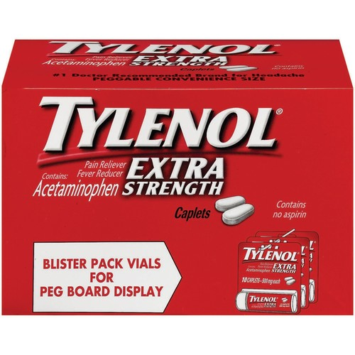 Tylenol Extra Strength Caplets, Fever Reducer and Pain Reliever, 500 mg, 10 ct.