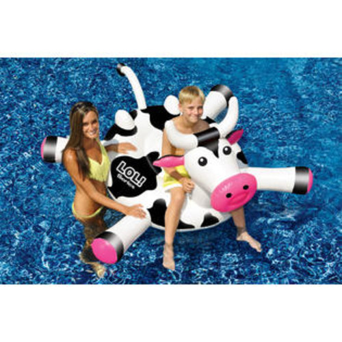 LOL Swimline LOL 54 inch Cow Inflatable Ride-On Toy for Swimming Pool