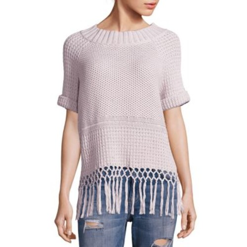 CURRENT/ELLIOTT Peggy Fringe Hem Crochet Sweater