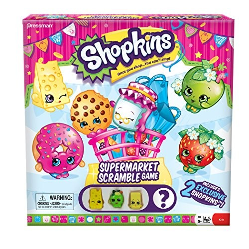 Shopkins Supermarket Scramble Game with 4 Exclusive Collectible Shopkins Characters Found Only in Our Games [Multicolor, None]