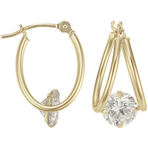 14K Yellow Gold Captured Cubic Zirconia Hoop Earrings - JCPenney