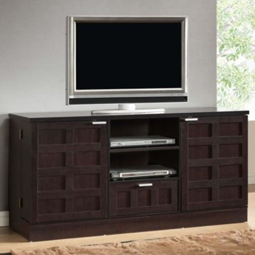 Baxton Studio Tosato Modern TV Stand and Media Cabinet in Dark Brown