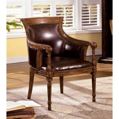 Furniture of America Kirklees Traditional Kirklees Accent Chair Bonded Leather