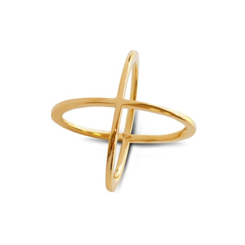 14K Yellow Gold Wide Crossover Ring
