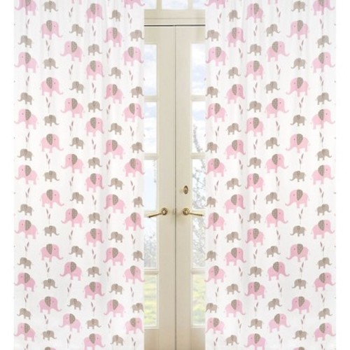 Sweet Jojo Designs Mod Elephant Window Panel Pair in Elephant Print in Pink/Taupe
