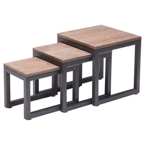 Civic Center Nesting Tables Distressed Natural - Zuo