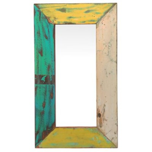 Bloomsbury Market Rosetta Rectangle Reclaimed Boat Accent Wall Mirror
