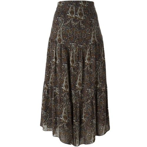 SAINT LAURENT Long Tiered Paisley Skirt