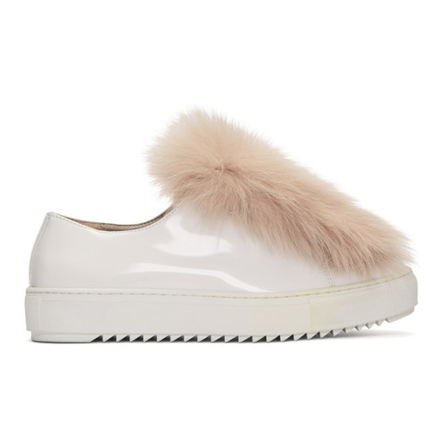 MR & MRS ITALY White & Pink Patent Fur Sneakers