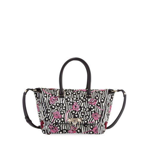 VALENTINO Demilune Small Sequined Double-Handle Tote Bag, Black
