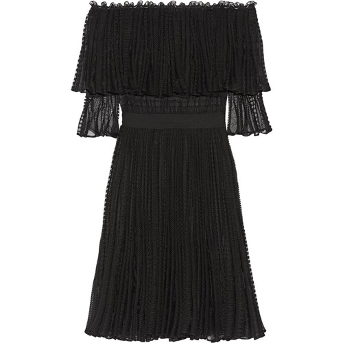 Off-the-shoulder ruffled knitted dress