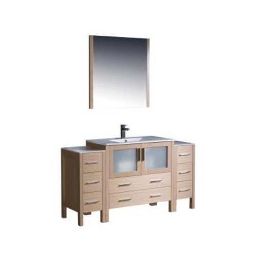 Fresca Torino 60 in. Vanity in Light Oak with Ceramic Vanity Top in White with White Basin and Mirror